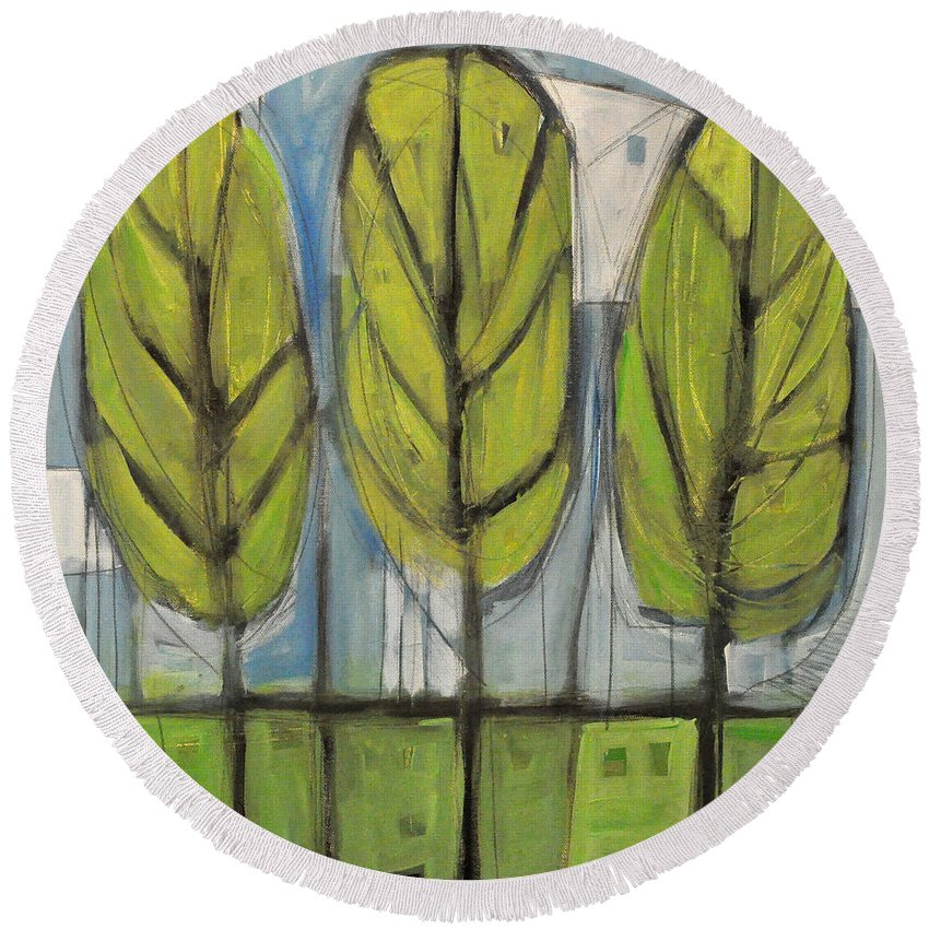 Trees Round Beach Towel featuring the painting the Four Seasons - spring by Tim Nyberg