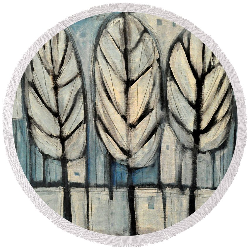 Trees Round Beach Towel featuring the painting The Four Seasons - Winter by Tim Nyberg