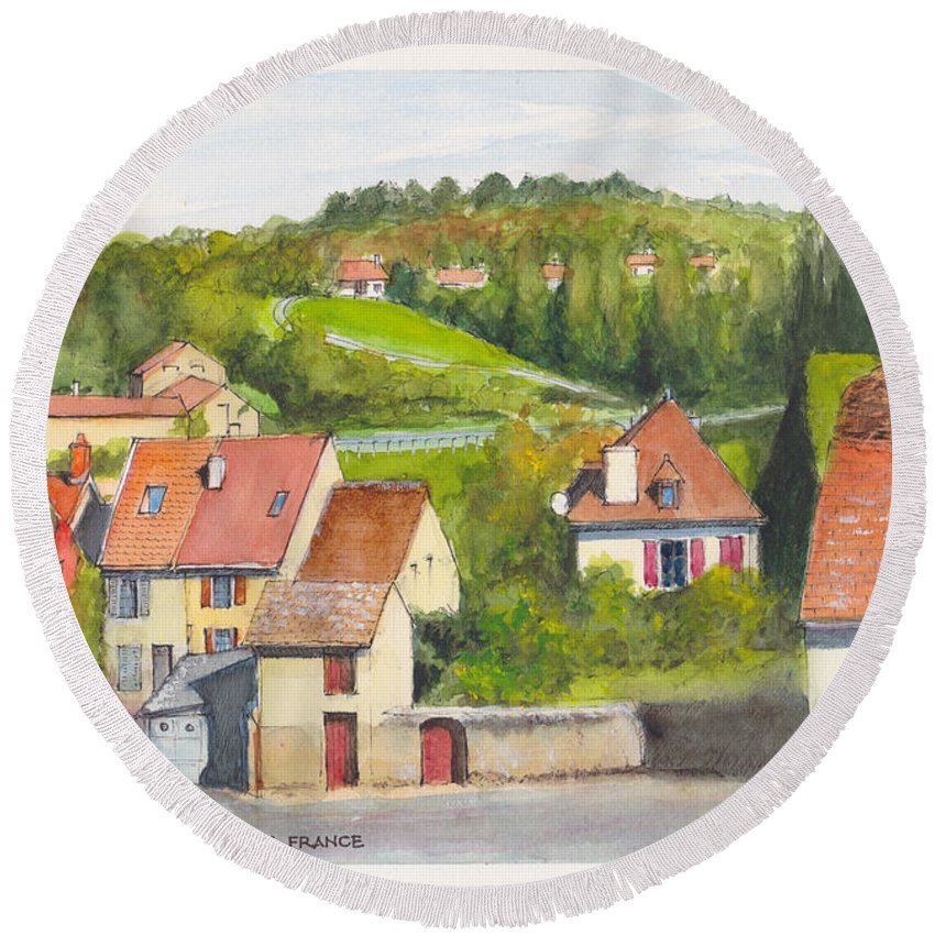 France Round Beach Towel featuring the painting The French Village Of Billy In The Auvergne by Dai Wynn