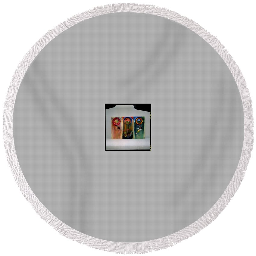 Fall From Grace Round Beach Towel featuring the painting The Fruit Machine Stops by Charles Stuart