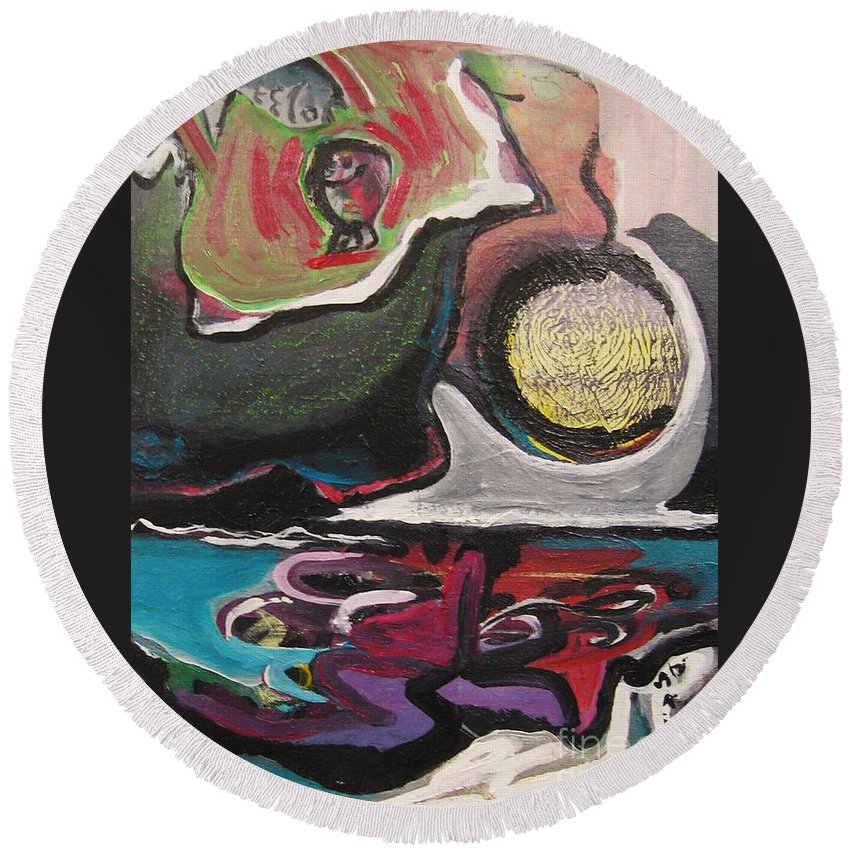Abstract Paintings Round Beach Towel featuring the painting The Full Moon2 by Seon-Jeong Kim