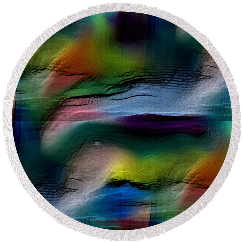 Abstract Round Beach Towel featuring the digital art The Future Looks Bright by Ruth Palmer