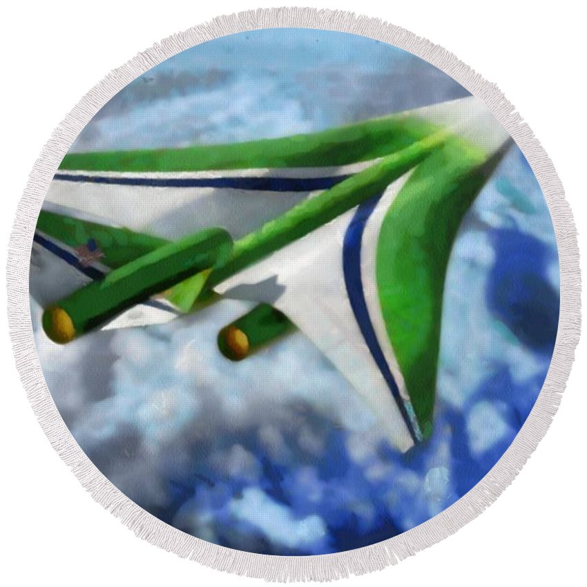 Digital Composition Round Beach Towel featuring the painting The Future Of Air Transportation by Mario Carini