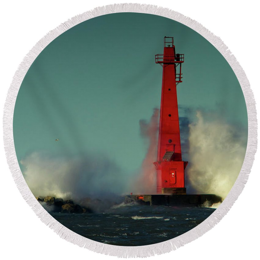 Photography Round Beach Towel featuring the photograph The Gale Of October II by Frederic A Reinecke