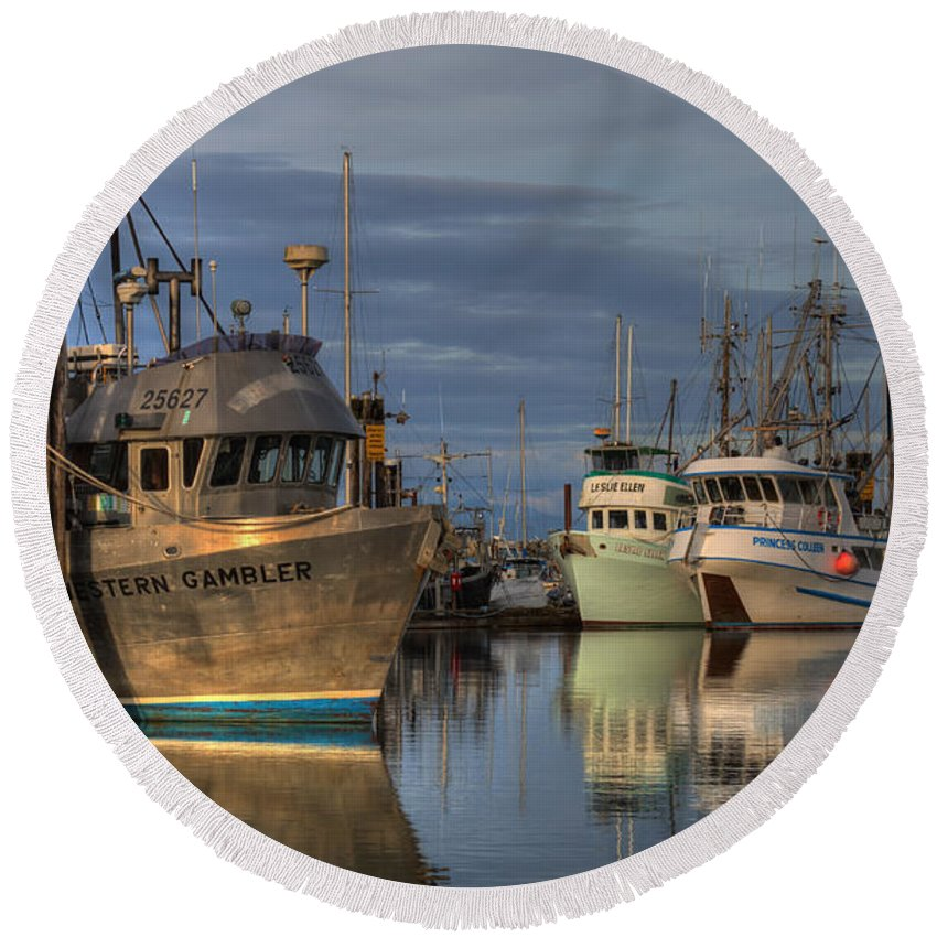Fishing Boats Round Beach Towel featuring the photograph The Gambler by Randy Hall