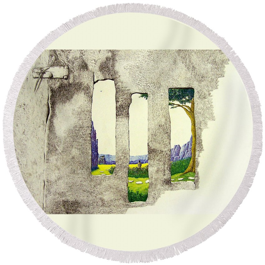 Imaginary Landscape. Round Beach Towel featuring the painting The Garden by A Robert Malcom