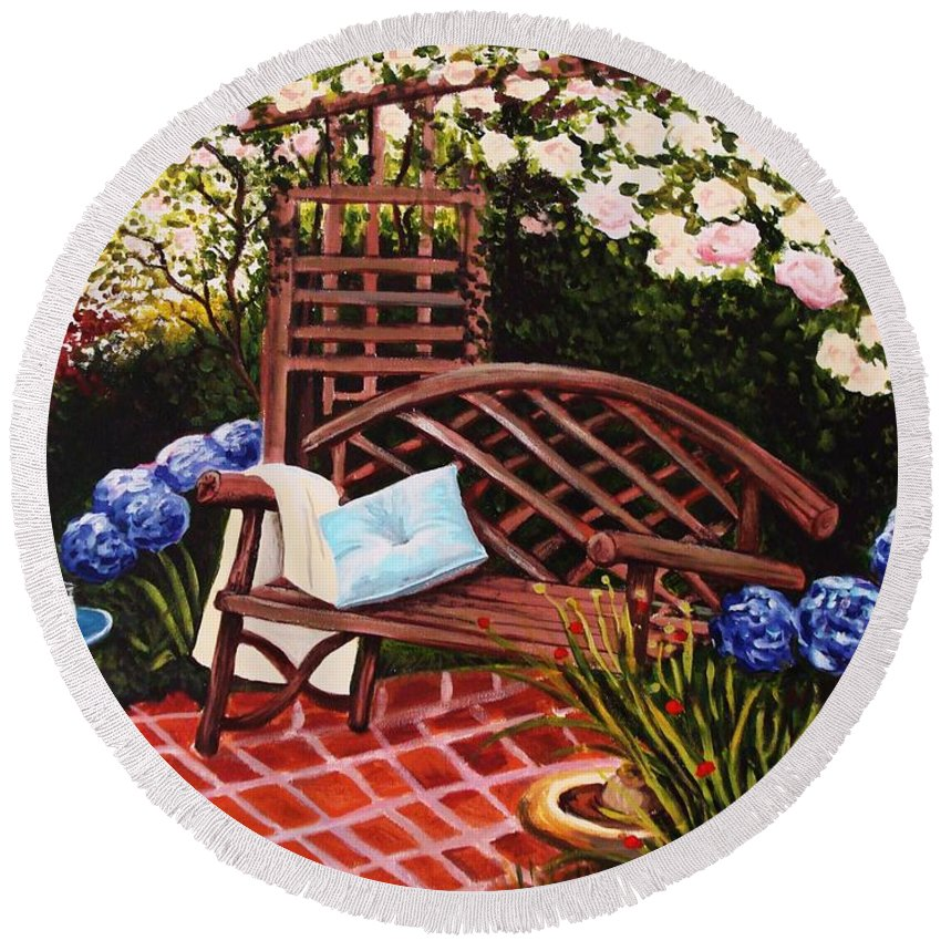 Landscape Round Beach Towel featuring the painting The Garden by Elizabeth Robinette Tyndall