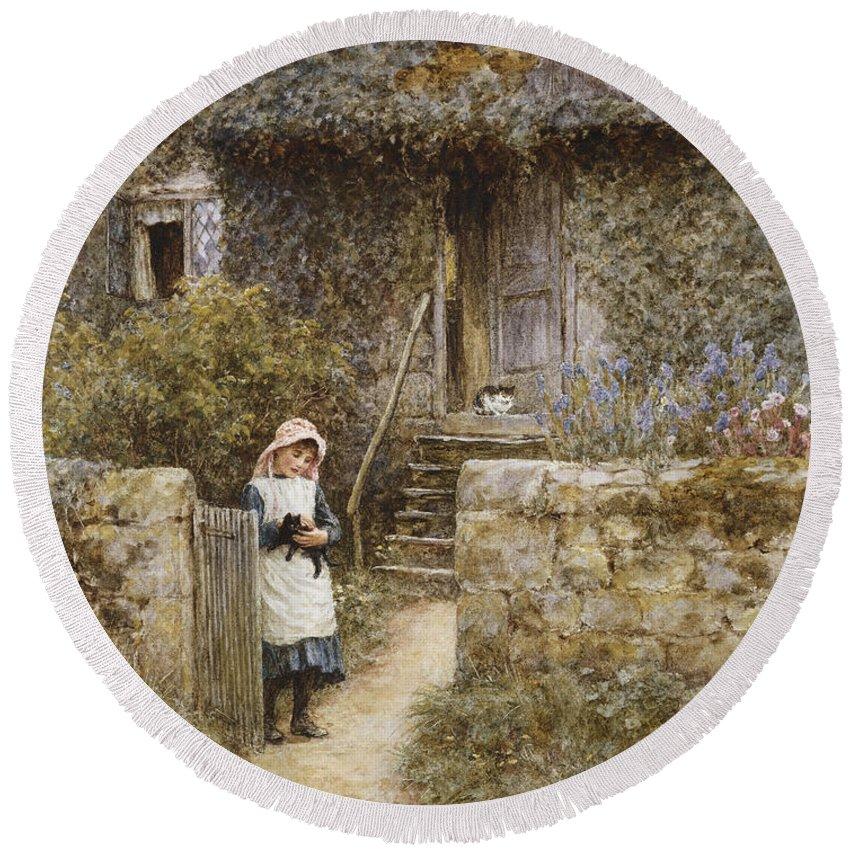Cottage; English; Landscape; Rural; Girl; Child; C19th; C20th; Path; Bonnet; Kitten; Cat; Ivy; Creeper; Victorian Round Beach Towel featuring the painting The Garden Gate by Helen Allingham