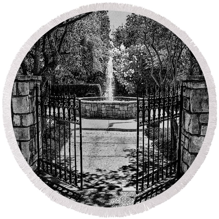 Fine Art Photography Round Beach Towel featuring the photograph The Garden Gate by Nicholas Costanzo
