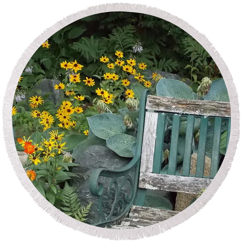 Flowers Round Beach Towel featuring the photograph The Garden by Kathleen Moore Lutz