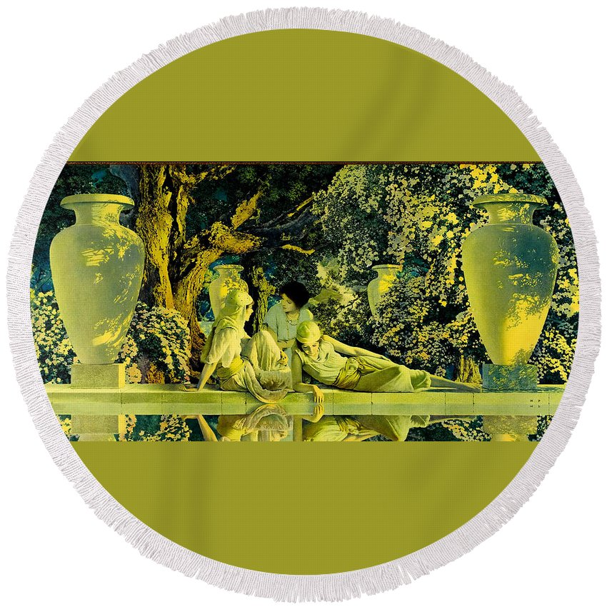 The Garden Of Allah Round Beach Towel for Sale by Maxfield Parrish