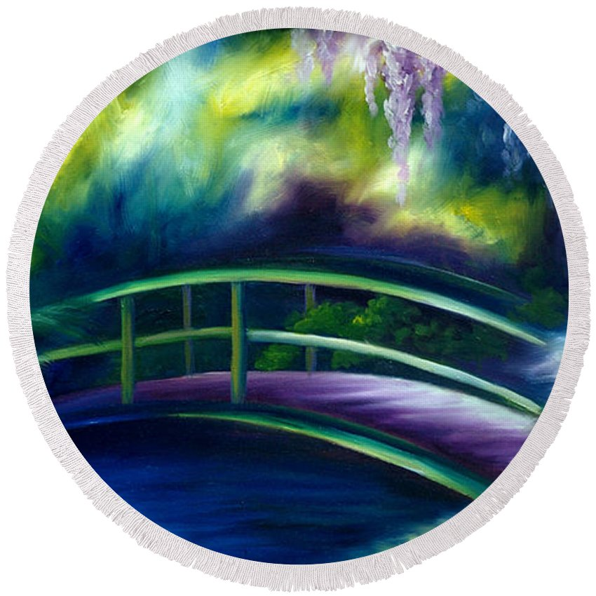 Sunrise Round Beach Towel featuring the painting The Gardens of Givernia by James Christopher Hill