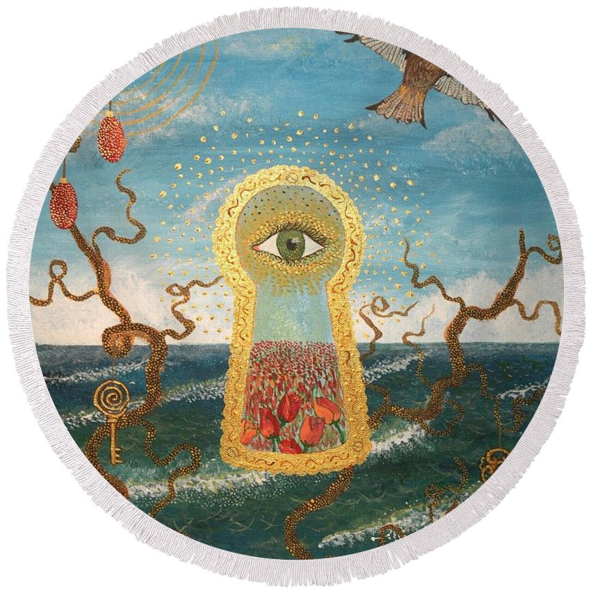 Eye Round Beach Towel featuring the painting The Gateway. by Annika Persson