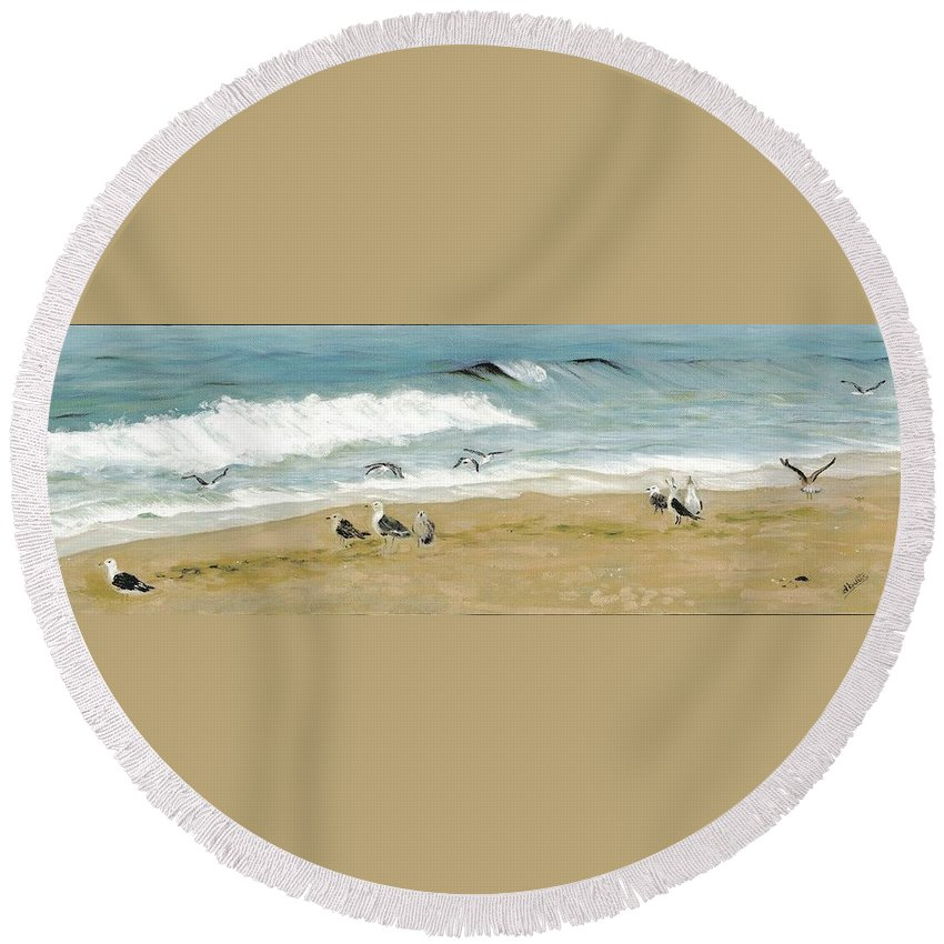 Beach Round Beach Towel featuring the painting The Gathering by Deborah Butts