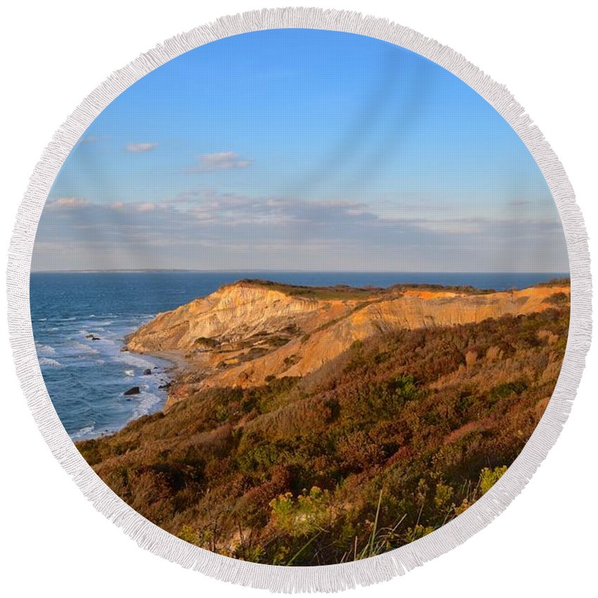Gay Head Round Beach Towel featuring the photograph The Gay Head Cliffs In Autumn by Island Images Gallery