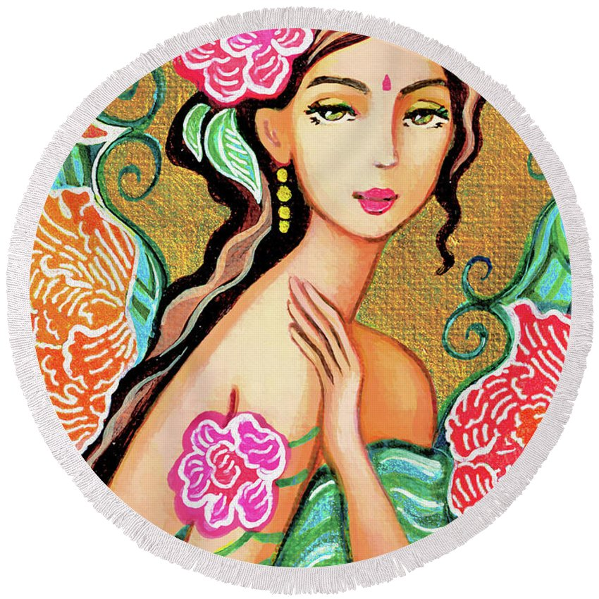 Beautiful Woman Round Beach Towel featuring the painting The Gaze Of Shalini by Eva Campbell