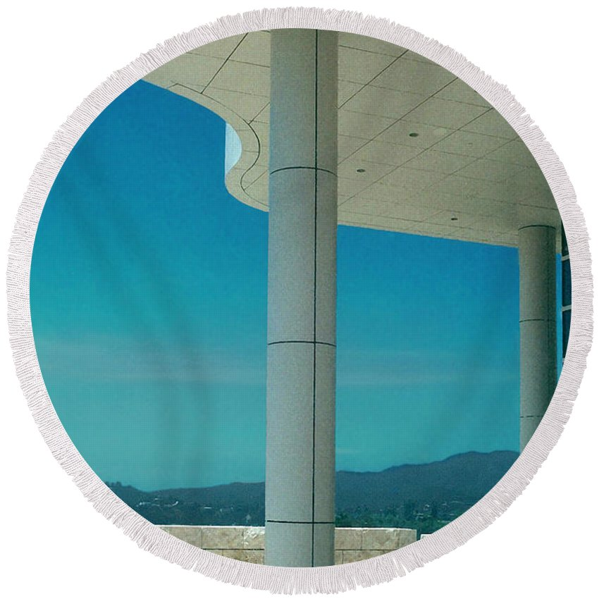 Architecture Round Beach Towel featuring the photograph The Getty Panel 2 Of Triptyck by Steve Karol