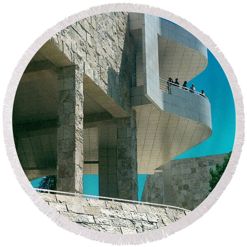 Architecture Round Beach Towel featuring the photograph The Getty Panel Three From Triptych by Steve Karol