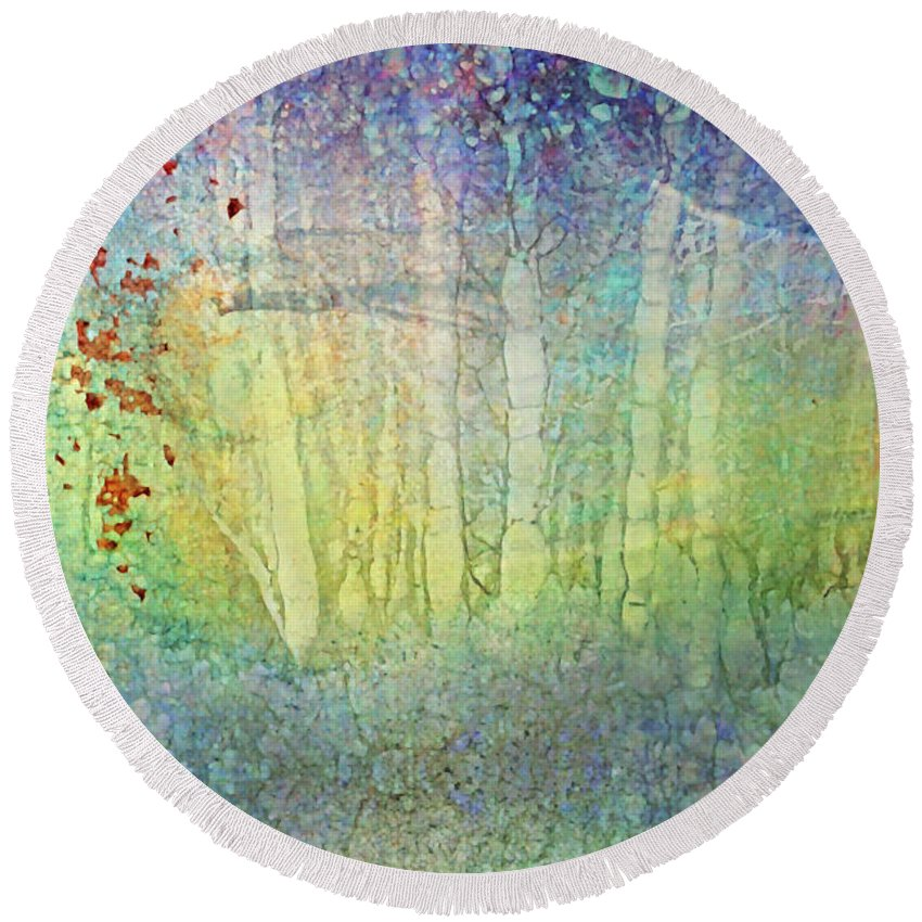 Optimist Round Beach Towel featuring the photograph The Ghost Forest by Tara Turner