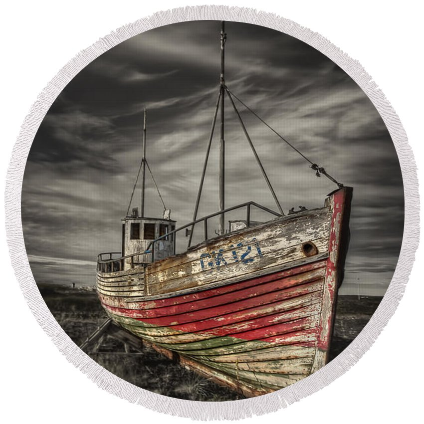 Boat Round Beach Towel featuring the photograph The Ghost Ship by Evelina Kremsdorf