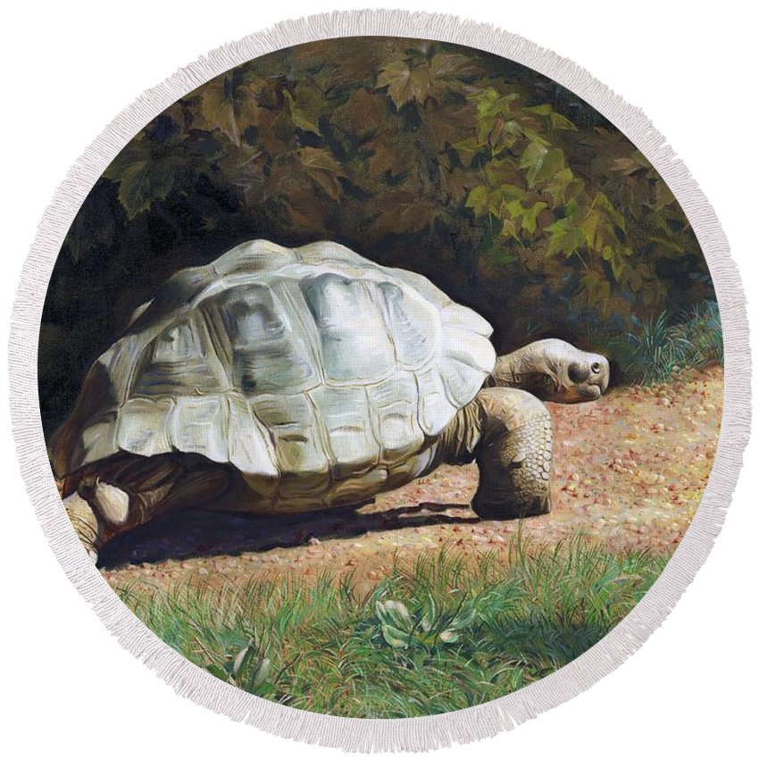 Turtle Round Beach Towel featuring the painting The Giant Tortoise Is Walking by Svitozar Nenyuk