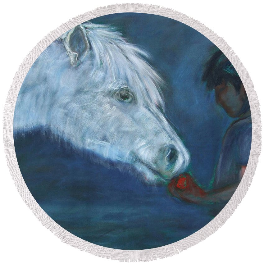 Katt Yanda Original Art Horse Oil Painting Canvas Boy Giving Apple To White Pony Gift Eat Share Round Beach Towel featuring the painting The Gift by Katt Yanda