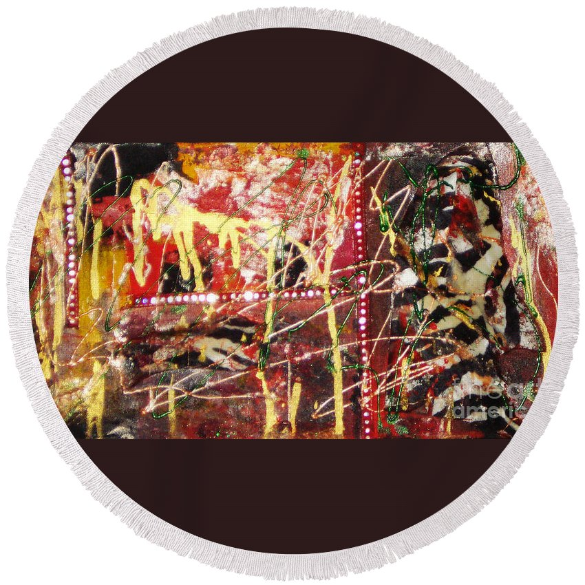 Acrylic Abstract Round Beach Towel featuring the painting The Gift Of Creativity by Yael VanGruber