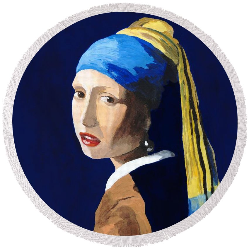 Vermeer Round Beach Towel featuring the painting The Girl With A Pearl Earring After Vermeer by Rodney Campbell