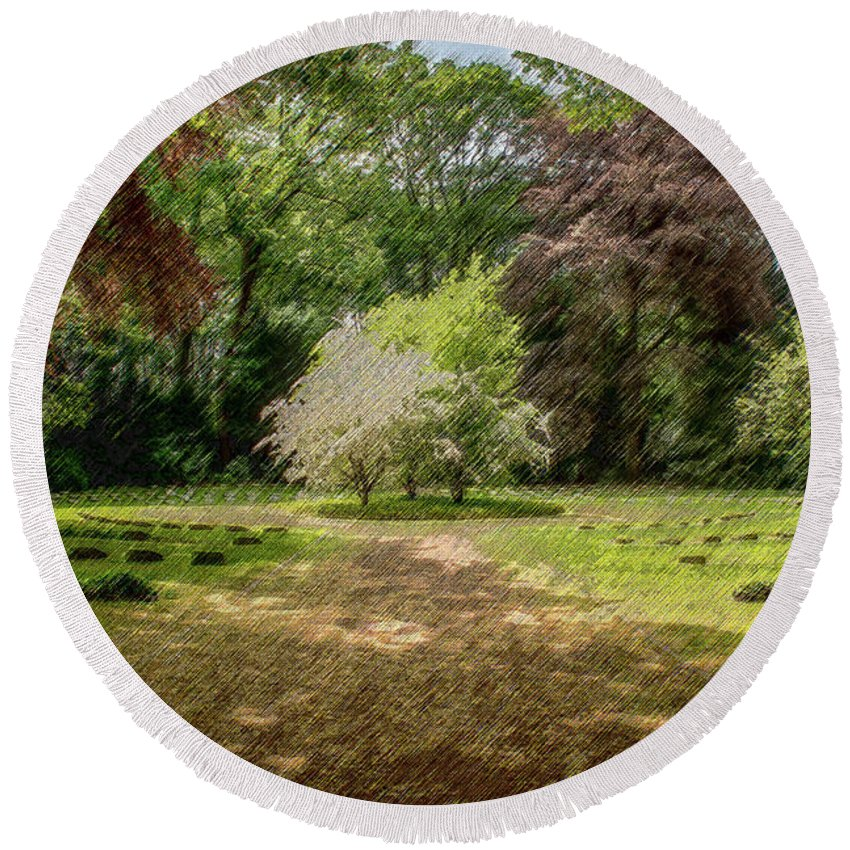 Glade Round Beach Towel featuring the digital art The Glade by CR Beaumont
