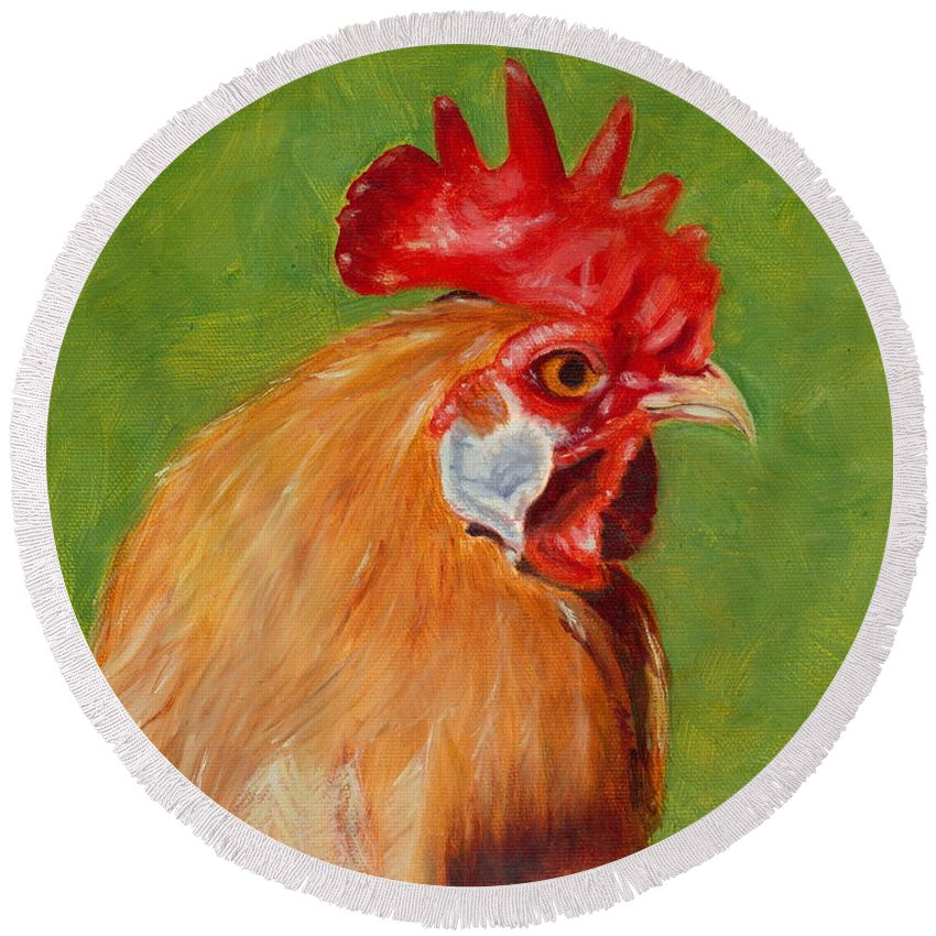 Rooster Round Beach Towel featuring the painting The Gladiator by Paula Emery