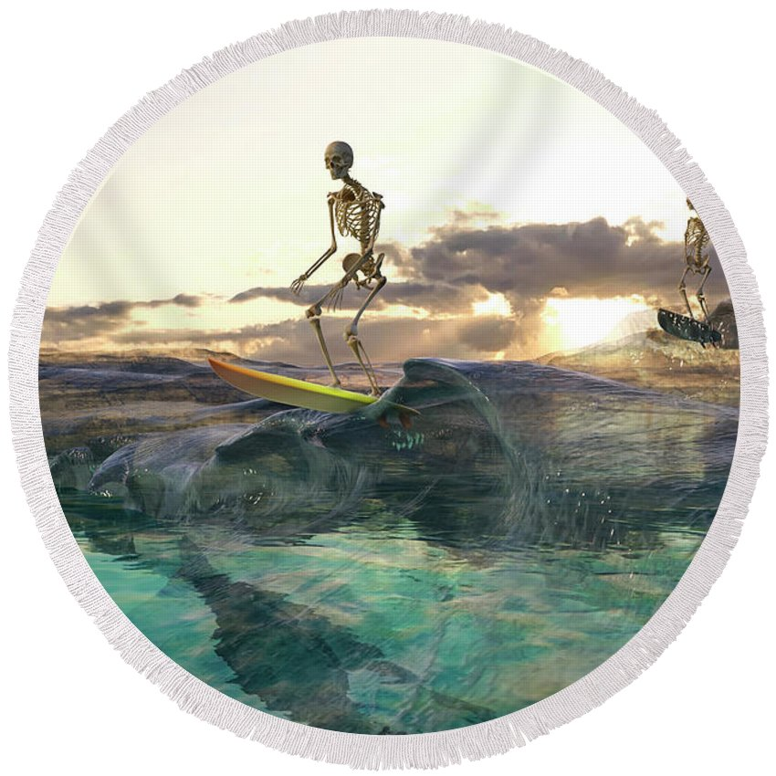 Skeleton Round Beach Towel featuring the digital art The Glass Ocean by Betsy Knapp
