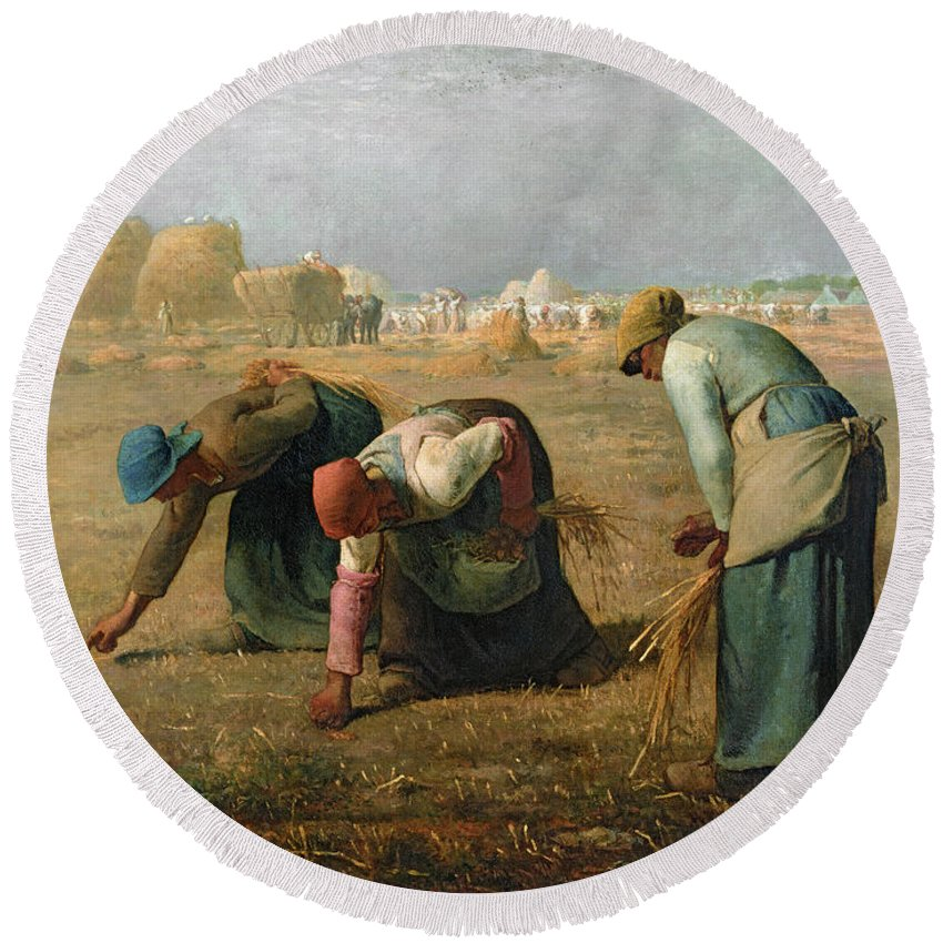 The Round Beach Towel featuring the painting The Gleaners by Jean Francois Millet