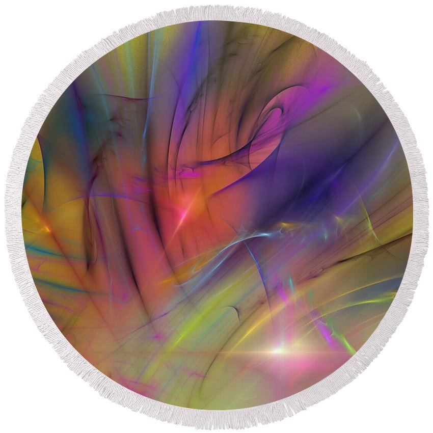 Abstract Round Beach Towel featuring the digital art The Gloaming by David Lane