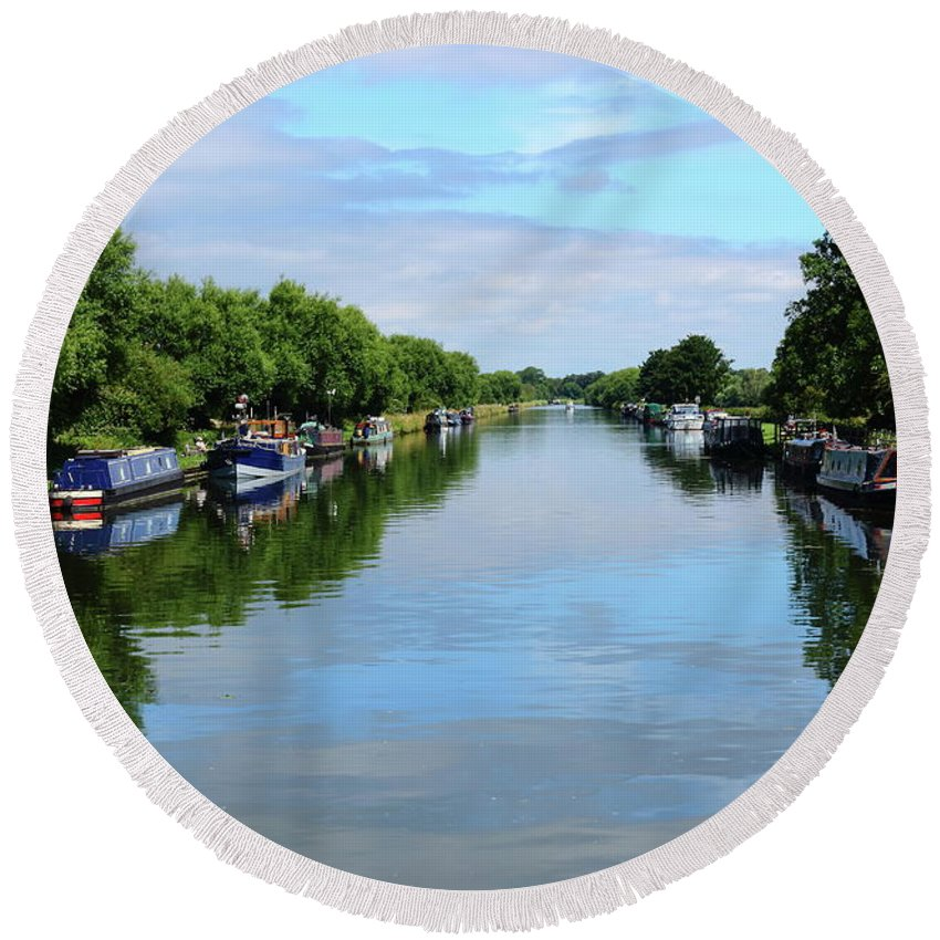 Canal Water Boats Barges Narrow Boats Banks Moorings Pleasure Craft Reflections Sky Trees Round Beach Towel featuring the photograph The Gloucester And Sharpness Canal by Jeff Townsend