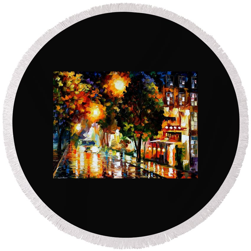 Afremov Round Beach Towel featuring the painting The Glowing Night by Leonid Afremov