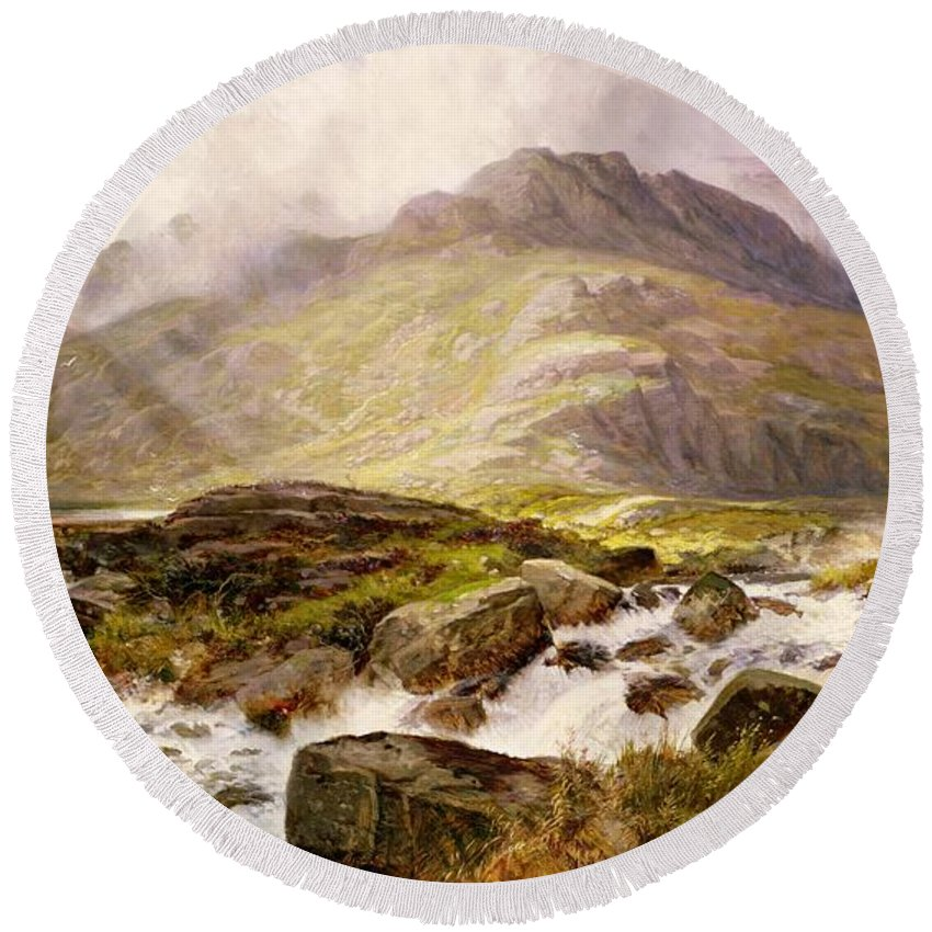 The Round Beach Towel featuring the painting The Glyder Fawr by Edwin Pettitt