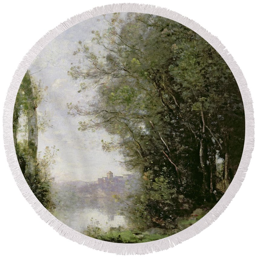 The Round Beach Towel featuring the painting The Goatherd Beside The Water by Jean Baptiste Camille Corot