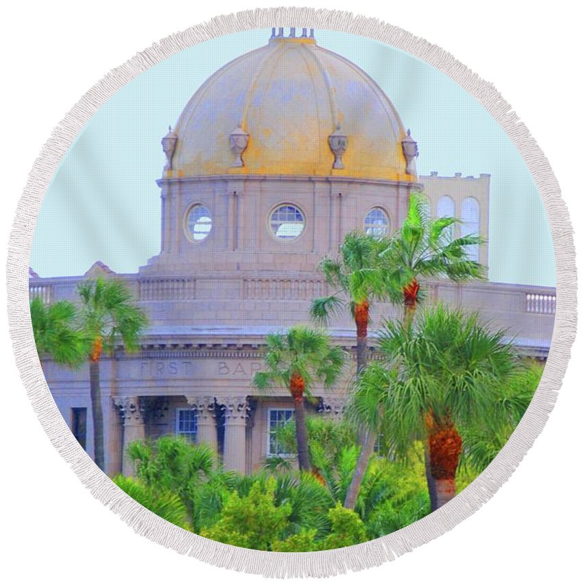 Church Round Beach Towel featuring the photograph The Gold Dome by Jost Houk