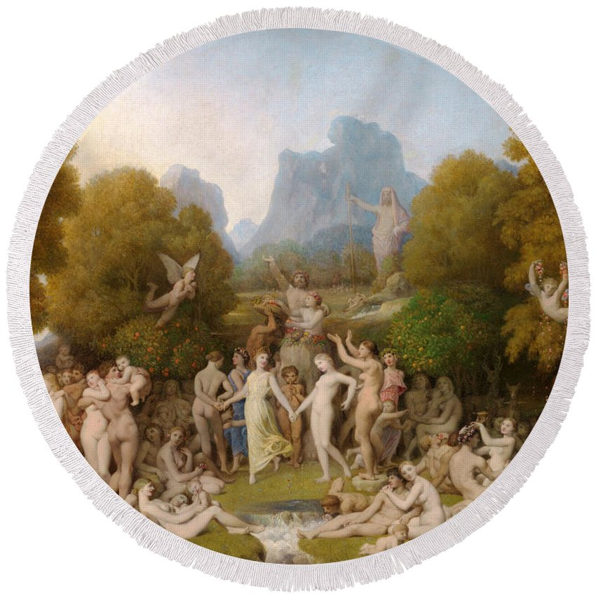 Jean-auguste-dominique Ingres Round Beach Towel featuring the painting The Golden Age by Jean-Auguste-Dominique Ingres