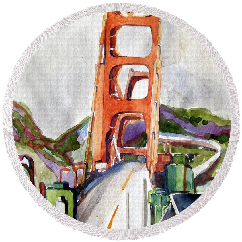 Mindy Newman Round Beach Towel featuring the painting The Golden Gate Bridge San Francisco by Mindy Newman