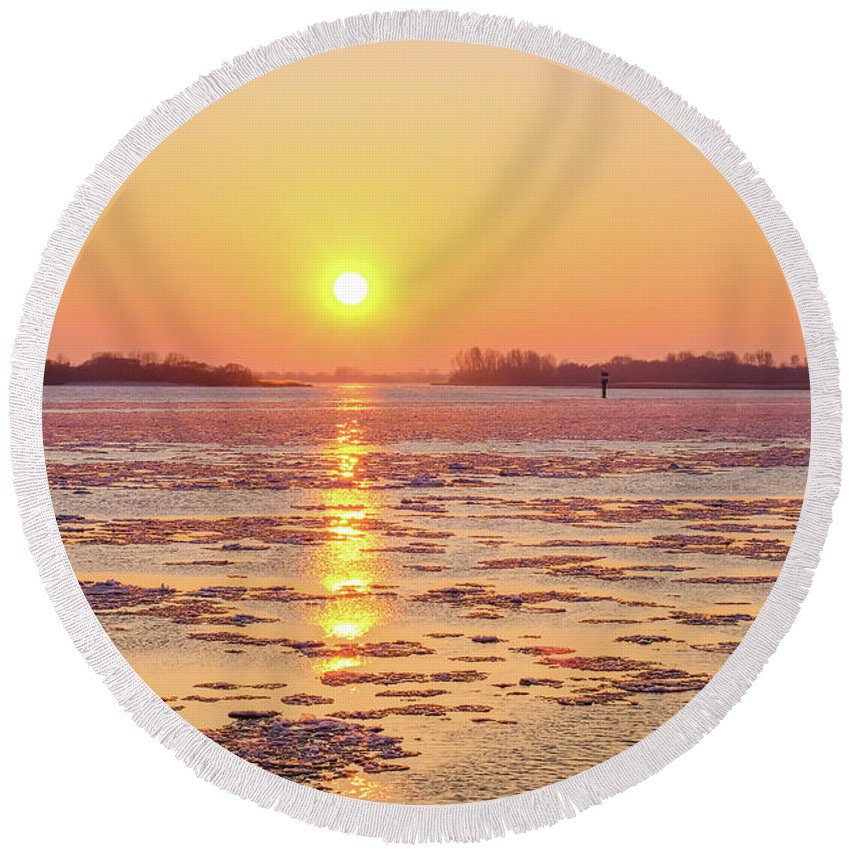 The Golden Hour And Ice Drift By Marina Usmanskaya Round Beach Towel featuring the photograph The Golden Hour And Ice Drift by Marina Usmanskaya