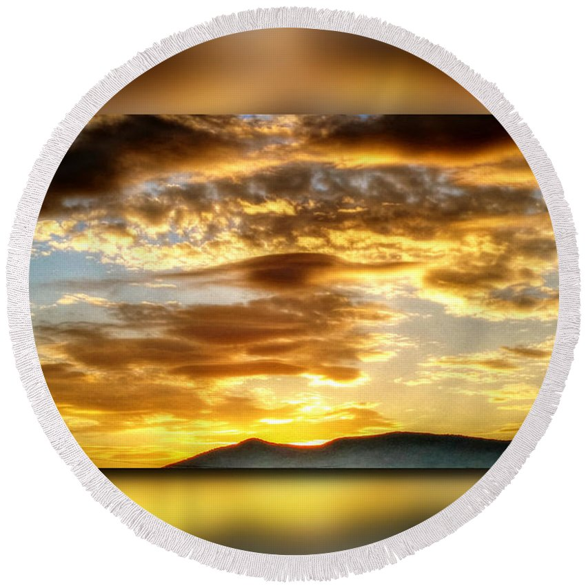 Morning Round Beach Towel featuring the digital art The Golden Hour by Dan Stone