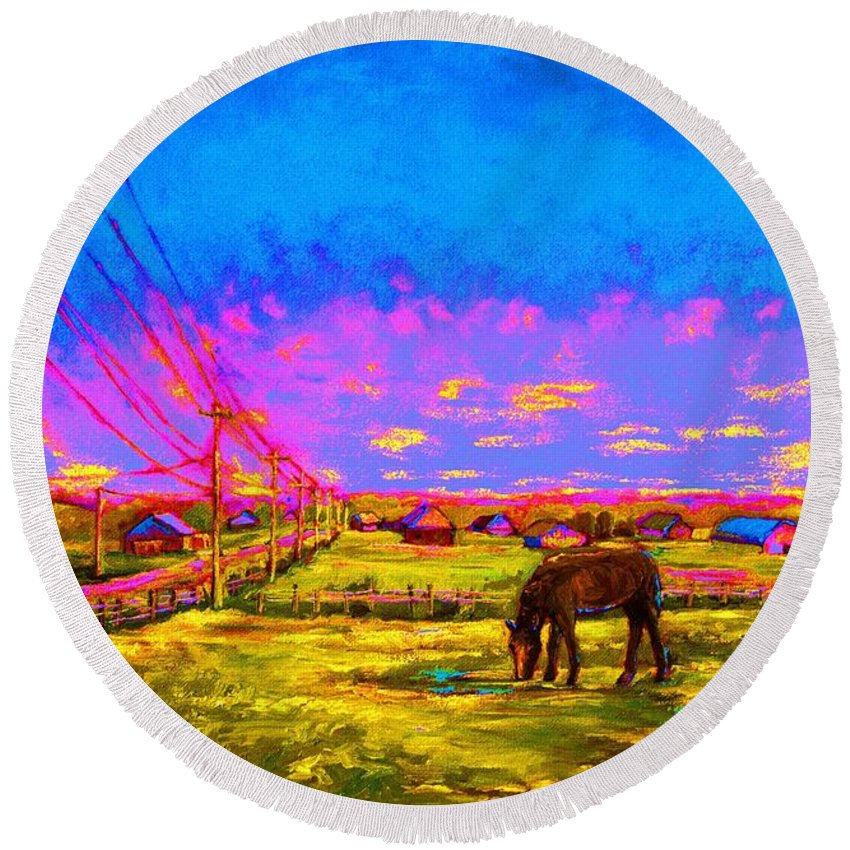 Western Art Round Beach Towel featuring the painting The Golden Meadow by Carole Spandau