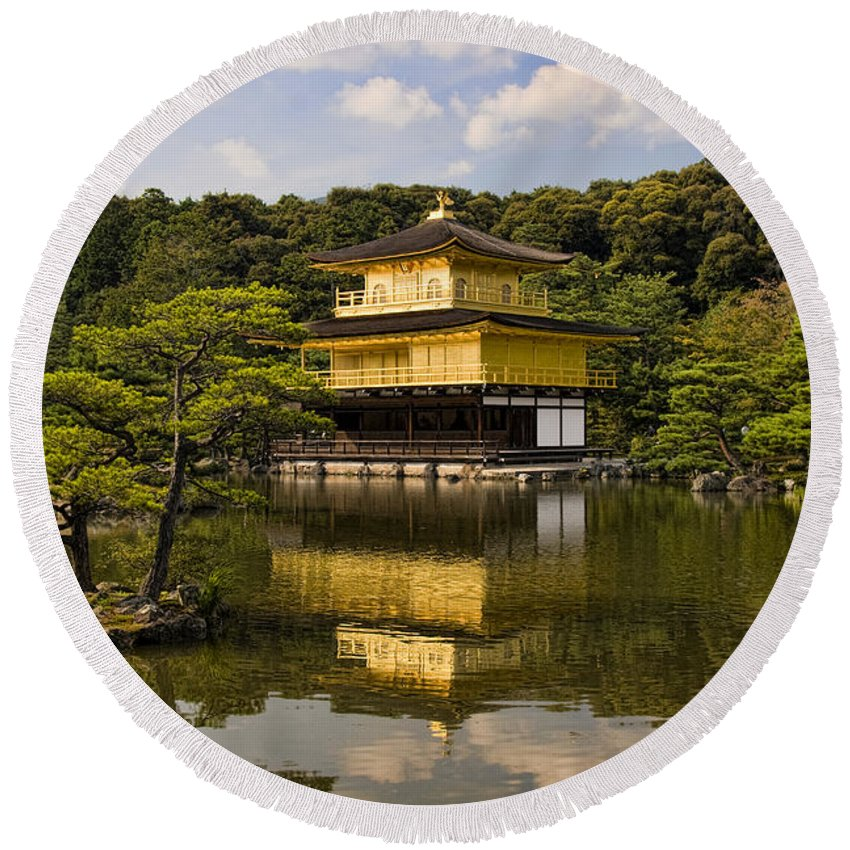 Colour Round Beach Towel featuring the photograph The Golden Pagoda in Kyoto Japan by David Smith