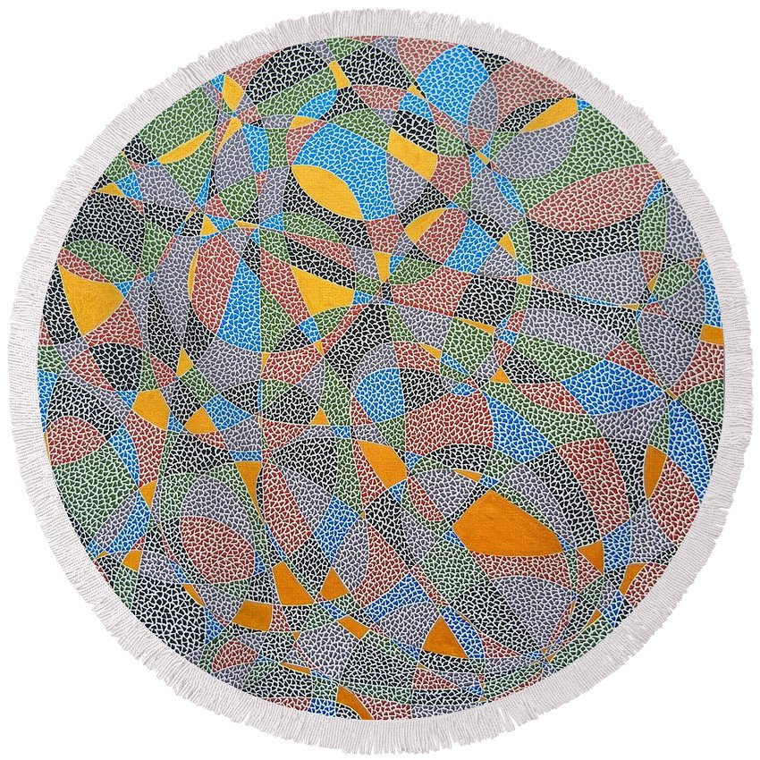 Abstract Round Beach Towel featuring the painting The Golden Touch by Kruti Shah