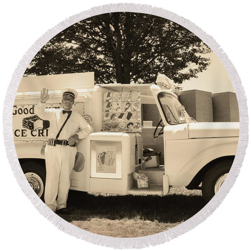 The Round Beach Towel featuring the photograph The Good Humor Man In Sepia by Bill Cannon