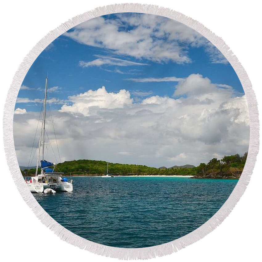 Sailboat Round Beach Towel featuring the photograph The Good Life by Joy McAdams