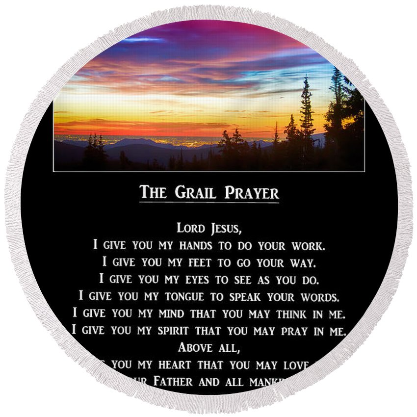 The Grail Prayer Round Beach Towel For Sale By James Bo Insogna
