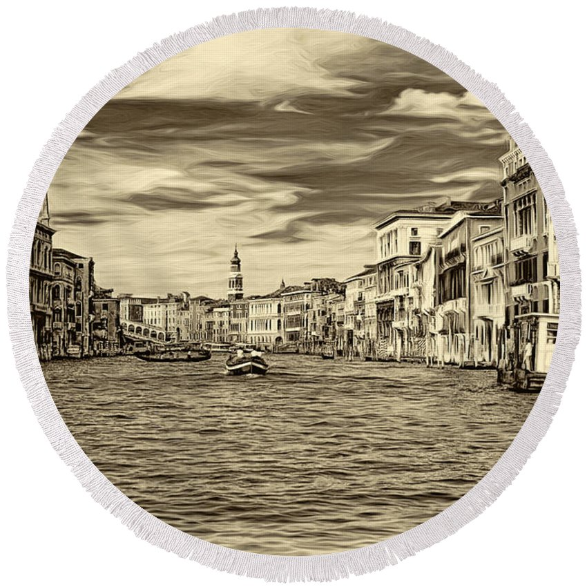 Venice Round Beach Towel featuring the photograph The Grand Canal - Paint Sepia by Steve Harrington
