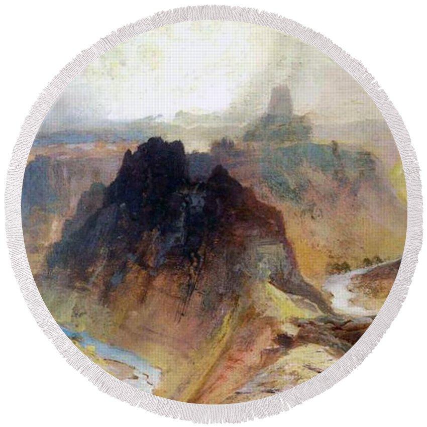 Thomas Moran Round Beach Towel featuring the painting The Grand Canyo by Thomas Moran